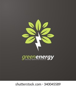 Creative symbol concept for renewable energy. Tree and bolt logo design layout. Flat icon concept for naturally replenished resources. Go green theme on dark background.