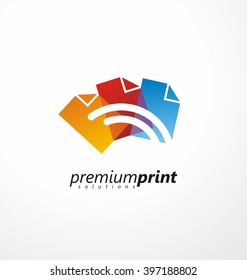 Creative symbol idea for printing shop. Colorful paper document shapes with lines in negative space. Logo design concept for offset print. CMYK printing solutions layout.