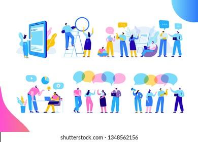 Kreative Team-Charaktere flach Vektorset. Diskussionsteilnehmer. Büroangestellte leben. Teamdenken und Brainstorming.  Analyse von Unternehmensinformationen. Flache Vektorzeichen einzeln auf Weiß
