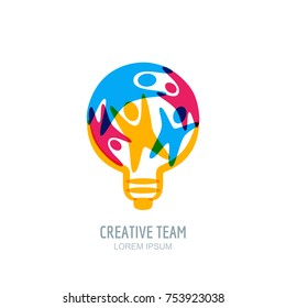 Creative team concept. Colorful abstract people in light bulb shape. Vector human logo, icon or emblem design template. Business, creativity, innovation, coaching or education illustration.