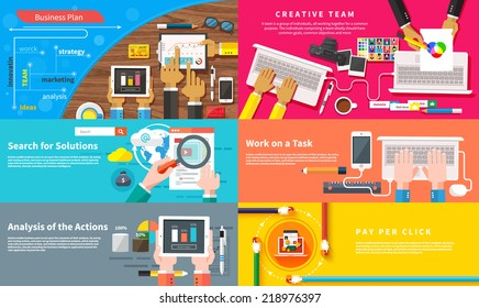 Creative team. Young design team working at desk. Business plan strategy touchscreen presentation. Search for solutions infographics. Businessman working on notebook. Analysis actions. Pay per click