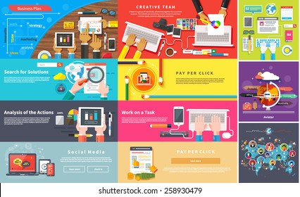 Creative team. Young design team working desk. Business plan strategy with touchscreen presentation. Search for solutions infographics. Businessman working on notebook. Analysis actions. Pay per click