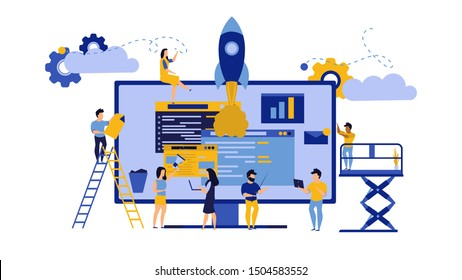 Creative teamwork vector business PC computer office illustration. Man and woman with data desk and rocket. Finance analysis collaboration group person. Internet technology work team. Solution company