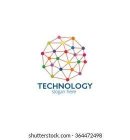 Creative Technology concept vector logo design template. Science technology abstract icon - vector logo. Teamwork symbol. Social Network. Community icon. Vector Illustration