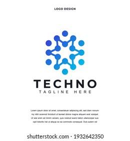 Creative technology icon logo design vector illustration. technology dot logo design color editable