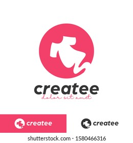 creative tee tshirt maker printing studio logo symbol with rounded negative space icon