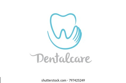 Creative Teeth Heart Inside Holding Logo Design Symbol Illustration