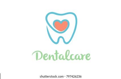 Symbol-Illustration des Designs für kreative Zähne im Herzen des Logos