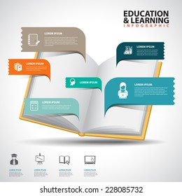 Creative Template with book speech bubble banner / can be used for infographics / banners / education concept vector illustration