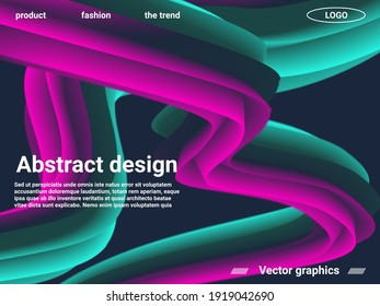 Creative template with fluid rainbow wave elements. Abstract liquid form of liquid color. Website concept. Abstract background with bright gradient and light effect.