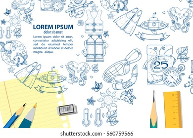 Creative template flyers with space for text to drivers and marine life. Snorkeling color illustrations.