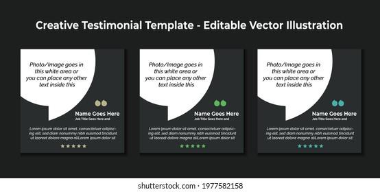 Creative Testimonial Templates - Editable Vector Illustration