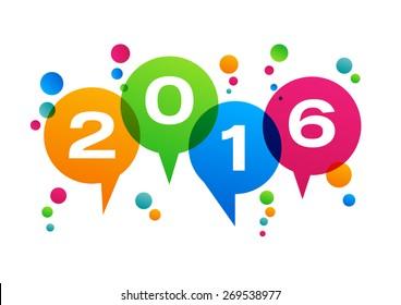 Creative text 2016 with balloon