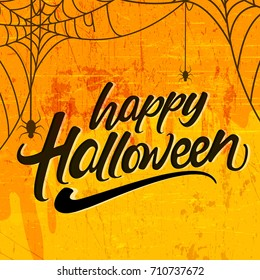 Creative text of Happy Halloween or Hand Lettering vector on scary background with hanging spiders and web