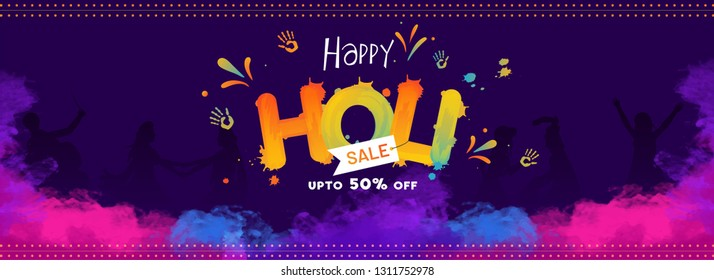 Creative text happy holi on blue background with 50% discount offer for festival sale header or banner design.