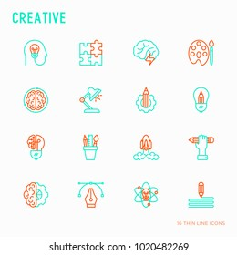 Creative thin line icons set: generation of idea, start up, brief, brainstorming, puzzle, color palette, creative vision, genius, solving problem. Modern vector illustration.