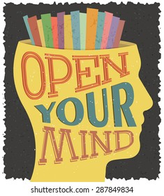 Creative thinking conceptual image. Vectors poster with text Open your mind