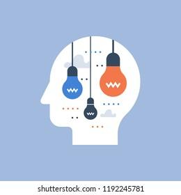 Creative thinking, creativity development, design solution, smart people, inspiration and motivation, positive mindset, vector illustration
