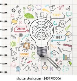 Creative thinking idea bulb , on paper white background ,vector illustration ,Editable stroke