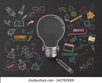 Creative thinking idea bulb , on paper black background ,vector illustration ,Editable stroke