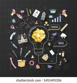creative thinking paper dea spread vector illustration