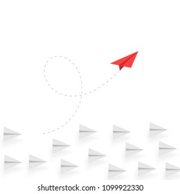 Creative thinking. Red paper airplane move different way. Creative business concept. Unique idea. Innovation and success. Vector illustration