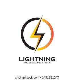 Creative Thunder Concept Logo Design Template - Vector