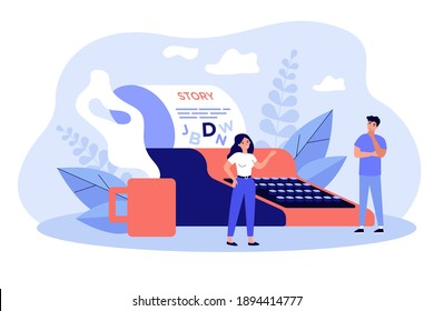 Creative tiny writers writing chapter of book isolated flat vector illustration. Cartoon poetry or novel authors imagination thinking on ideas. Literature and imagination concept