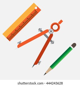 creative tool, divider, pencil ruler. vector illustration
