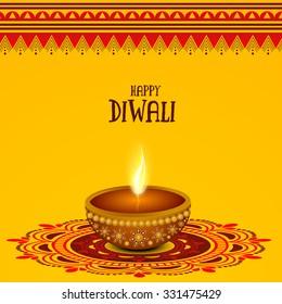 Creative traditional oil lit lamp on beautiful rangoli for Indian Festival of Lights, Happy Diwali celebration.