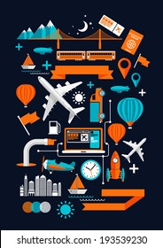 Creative Transport Elements. Creative flat vector illustration with various transport & travel symbols.