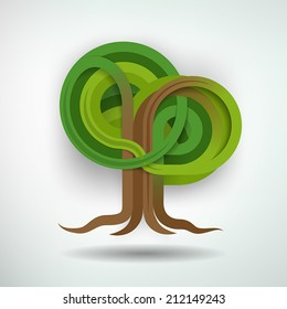 Creative Tree Concept. Tree made out of intertwining ribbons. Tree and background on separate layers. Fully scalable vector illustration.