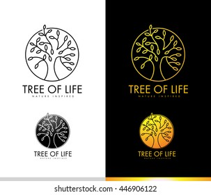 Creative Tree Logo Concept with Monogram Outlines Leaves Shape. Tree Icon Leaves Logo Spiritual