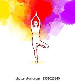 Creative Tree Pose Vrikshasana Yoga Pose. Hand-drawn vector illustration, healthy exercise series.