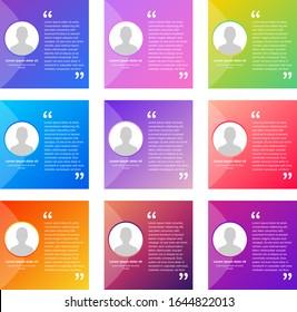 Creative trendy modern design testimonial vector art layout sets
