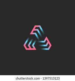 Creative triangular logo formed by three letters EEE, futuristic geometric frame shape modern trend gradient for cryptocurrency emblem