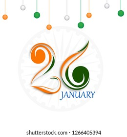 Creative tricolor text of 26 January on white background decorated with hanging baubles in Indian flag colors.
