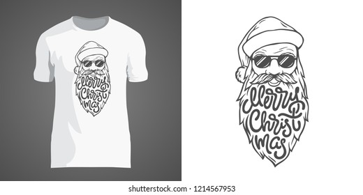 Creative t-shirt design with illustration of Santa in sunglasses with big beard. Lettering Merry Christmas in form of beard. T-shirt design for New Year party and Christmas holidays. EPS10