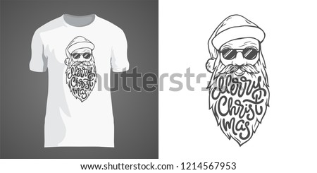 1e54a5127 Creative t-shirt design with illustration of Santa in sunglasses with big  beard. Lettering