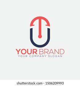 Creative TU or UT letter tech logo illustration.