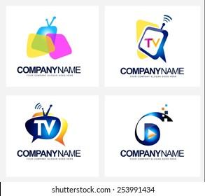 Creative Tv Broadcast Logo. Creative vector icon design for television