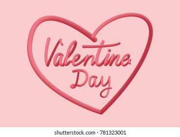 Creative typography of Valentine day in heart frame vector