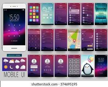 Creative UI, UX, GUI Screens for mobile apps and responsive website including Menu, Weather, calendar, Contacts, Music, Calculator, Map, Chat, Login, Calling, Picture Gallery and Lock Screens.