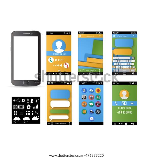 Creative Ui Ux Gui Screens Mobile Stock Vector (Royalty Free