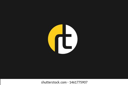 Creative unique clean attractive connected geometric symbolic fashion brand yellow and white color RT TR R T initial based letter icon logo