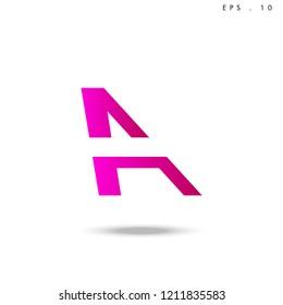 Creative unique elegant geometric, minimal fashion brand , pink gradient  color, A  initial based letter icon logo.