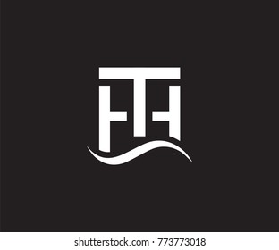 Creative unique elegant geometric minimal fashion brand black and white color HT TH H T initial based letter icon logo