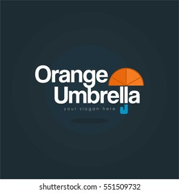 Creative and unique flat orange fruit Umbrella logo with black background for company and business