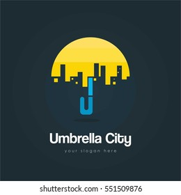 Creative and unique flat Umbrella town and city logo with blue background for company and business
