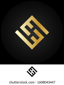 Creative unique modern elegant connected EE, E and E square shaped fashion brands gold color initial based letter icon logo